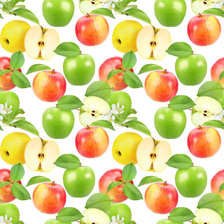 Abstract seamless pattern with apples, flowers and green leafs isolated on white background. Close-up. Studio photography. photo