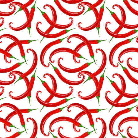 Abstract seamless pattern with red hot peppers. Isolated on white background. Close-up. Studio photography. photo