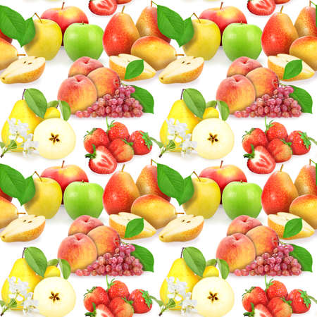 Seamless pattern with fruits, berries, leafs and flowers. Placed on white background. Close-up. Studio photography. photo