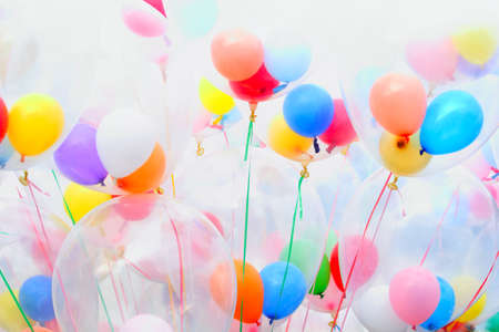 Background of motley balloons. Close-up. Outdoor photography. photo
