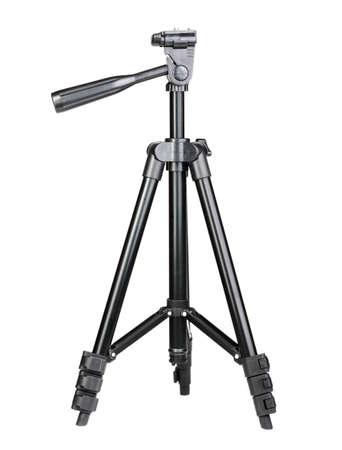 Single black phototripod. Isolated on white background. Close-up. Studio photography. photo