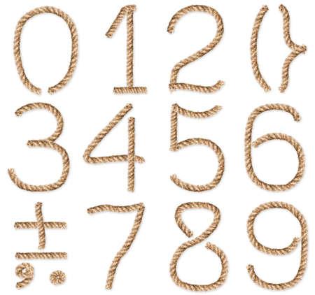 numero nueve: Conjunto de cuerda-figuras y s�mbolos. Situado en el fondo blanco. Close-up. Estudio de fotograf�a. Foto de archivo