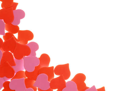 arts symbols: Abstract elegance background of red and pink confetti heart-shape and free space for your text Stock Photo