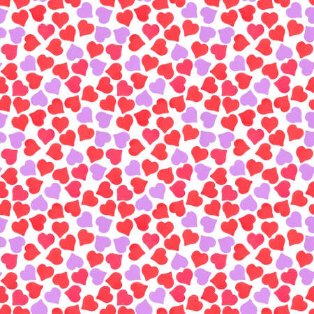 arts symbols: Abstract seamless pattern of shining red, pink and purple confetti heart-shape isolated on white Stock Photo