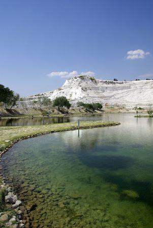 phenomena: Lake in Pamukkale. Nature phenomenon. Turkey. Stock Photo