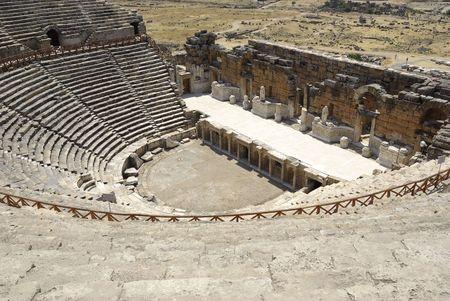 pamukkale: Amphitheater in ancient city Hierapolis. Pamukkale, Turkey. Middle Asia.