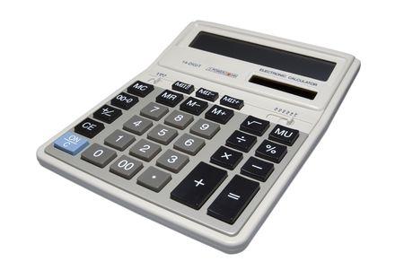 Calculatrice isol� sur fond blanc avec un masque vectoriel. Banque d'images