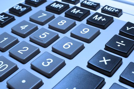 Calculator closeup with cold photo filter. Stock Photo - 3703429