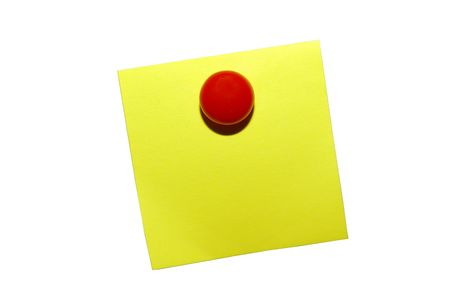 Yellow sticky notepaper with red magnet. Isolated on ehite Stock Photo - 3703678