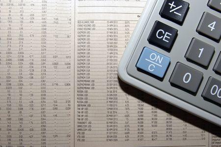 scrutiny: Calculator and business newspaper. Financial concept.