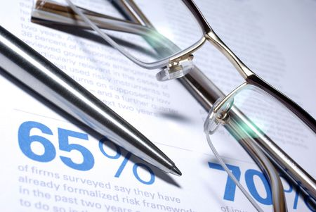 Glasses and pen macro closeup. Business Concept. Stock Photo - 3736886
