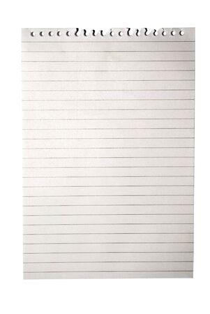 Blank note de bloc-notes de papier avec des lignes isol�es sur blanc =