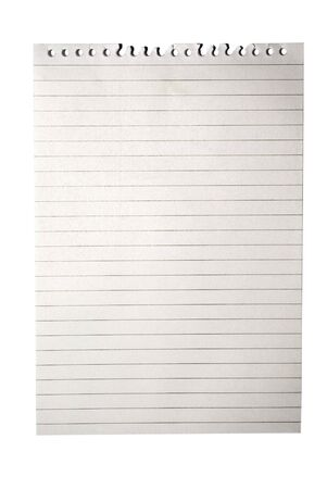 Blank note paper from notebook with lines isolated on white =