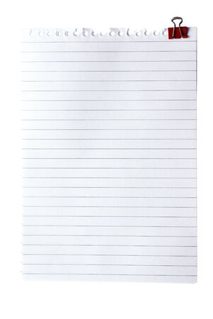 clinch: Blank note paper with clinch isolated od white