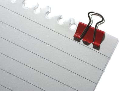 clinch: Part of striped blank notepaper with clinch