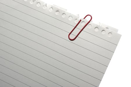 Corner of blank note paper with red paper-clip Stock Photo - 3773287
