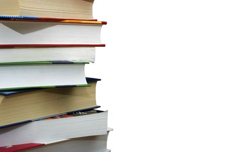 Stack of different books isolated on the wgite background. Clipping path. Stock Photo - 3806213