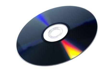 dvdrw: DVD-RW multimedia disc isolated on white background.