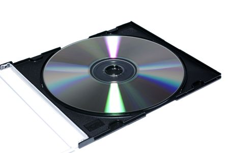 jewel case: Opened jewel case with recordable disc. Isolate on white.