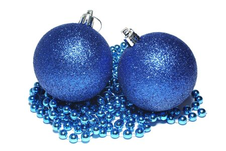 weihnachten: Blue christmas balls and blue ornament isolated on white background.