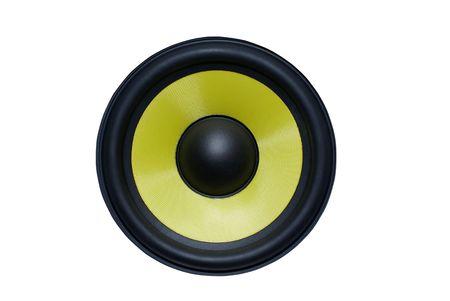 Yellow audio speaker isolated on white background. photo