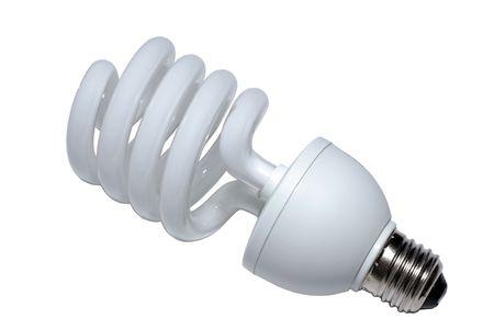 Gros plan de la spirale lightblulb fluorescent. Isol� sur blanc avec un masque vectoriel.