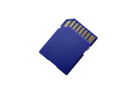 Back side of SD card isolated on white background. Clipping path. photo