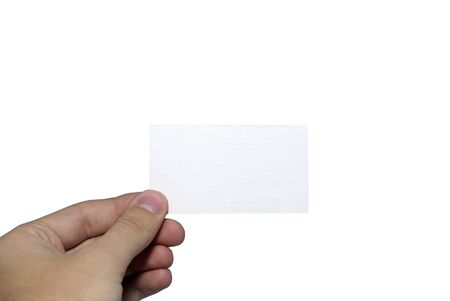 Human hand holding card with empty space for any design. Isolated on white background. Stock Photo - 3959782