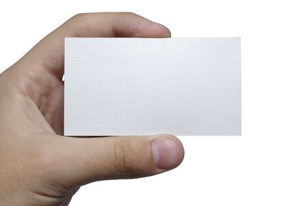 Hand with white textured card for your text isolated on white background. photo