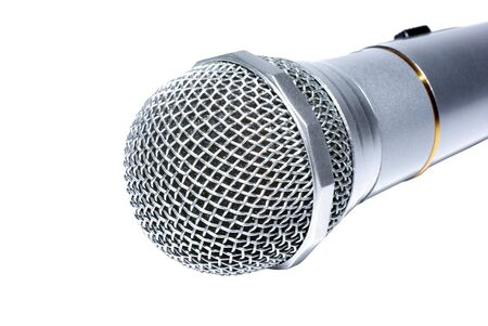 Audio microphone macro isolated on white background. Stock Photo - 4009090