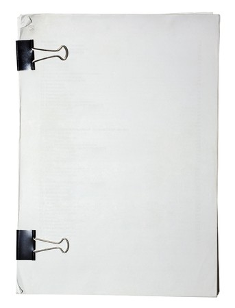 Block of paper attached with paper clips with empty space for your design.