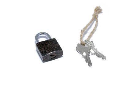 Padlock with keys isolated on white background. Stock Photo - 4023442