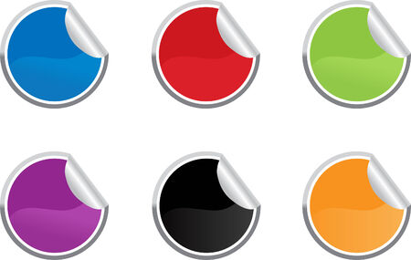 Six colored vector sticky label for price or another design. Vector