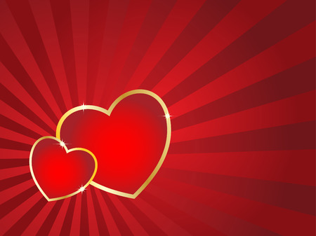 Two hearts with golden stroke and striped background. Valentines Day vector card. Vector