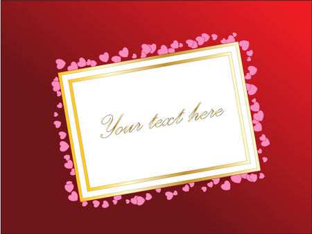 Empty card for your text or design with hearts. Gradient red background. Valentines day vector theme.