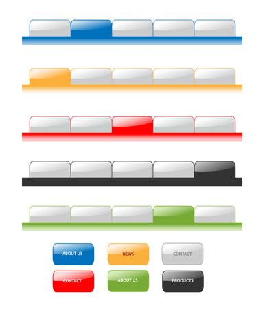 pesta�as: Conjunto de vectores modernos de navegaci�n pesta�as hidroambientales estilo Web 2.0. Diferentes colores, editar, muestra el men�.