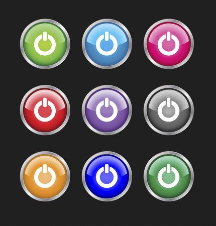 Set of glossy web 2.0 vector power buttons. Aqua style, metallic effect. Easy editable. Vector