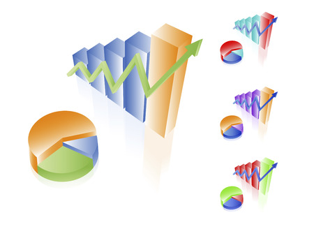 3D vector charts. Bar and pie diagrams. Set of different colors. Financial incoming growth concept. Easy to edit. Any size. Illustration