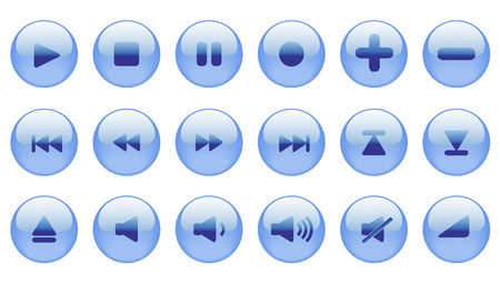 Set of blue vector icons for media player, internet or another use. Aqua style web 2.0. Vector
