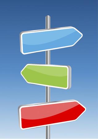 cruce de caminos: 3D vector direcci�n signos de fondo y el cielo. Cualquier tama�o y f�cil de editar ilustraci�n.
