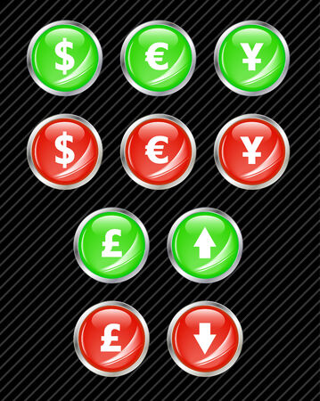 Set of vector interface buttons for currency exchange business theme. Easy to edit, any size. Aqua web 2.0 Vector