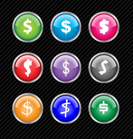 Set of vector buttons with different variations of dollar sign style. Easy to edit, any size or color. Aqua web 2.0 Vector