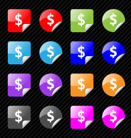 Set of vector sticky badges for dollar currency theme. Easy to edit, any size. Aqua web 2.0 Vector