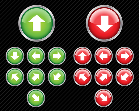 Set of vector direction buttons with arrows. Easy to edit, any size. Aqua web 2.0 style. Stock Vector - 4185382