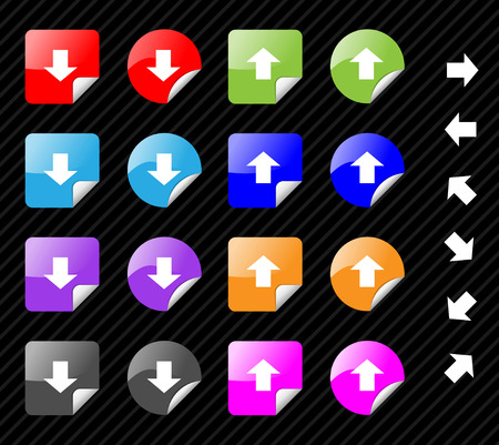 Collection of multi colored vector sticky icons with arrows for directions. Easy to edit, any size. Aqua web 2.0 Vector