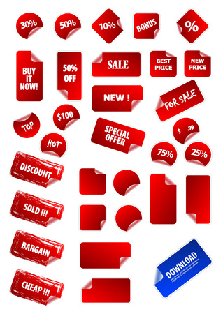 Big collection of vector sticky price labels for marketing and advertisement. Easy to edit, any size. Aqua web 2.0, grunge, retro. Perfect for your own text and design. Stock Vector - 4191239