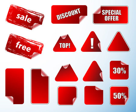 Collection of promotion vector labels. Different shapes, easy to edit, any size. Aqua web 2.0 Vector