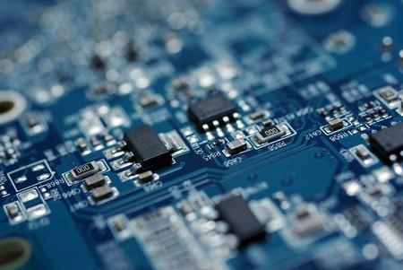 Gros plan sur la photo de bleu PC circuit imprim�. R�sum� des technologies d'information. Banque d'images
