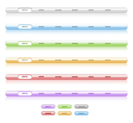 Ensemble de vecteur de mod�les de navigation. Diff�rentes couleurs. Facile � modifier, de toute taille, aqua web 2.0