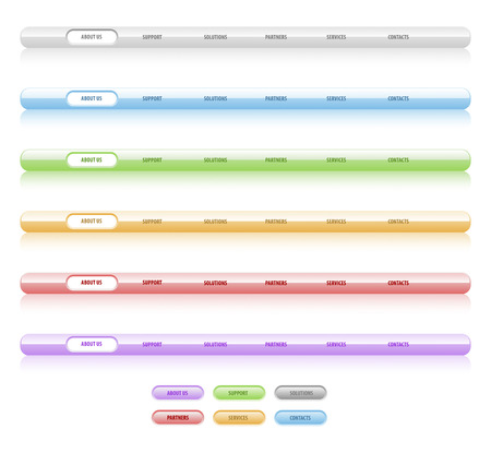Set of vector navigation templates. Different colors. Easy to edit, any size, aqua web 2.0 Vector